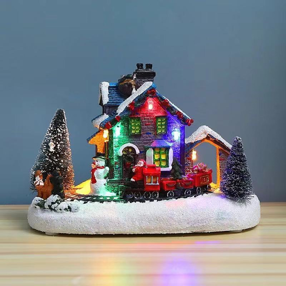 Colorful  Luminous  Small  House Christmas Decoration Small Train Snow House Resin Crafts Christmas Ornaments Little train house