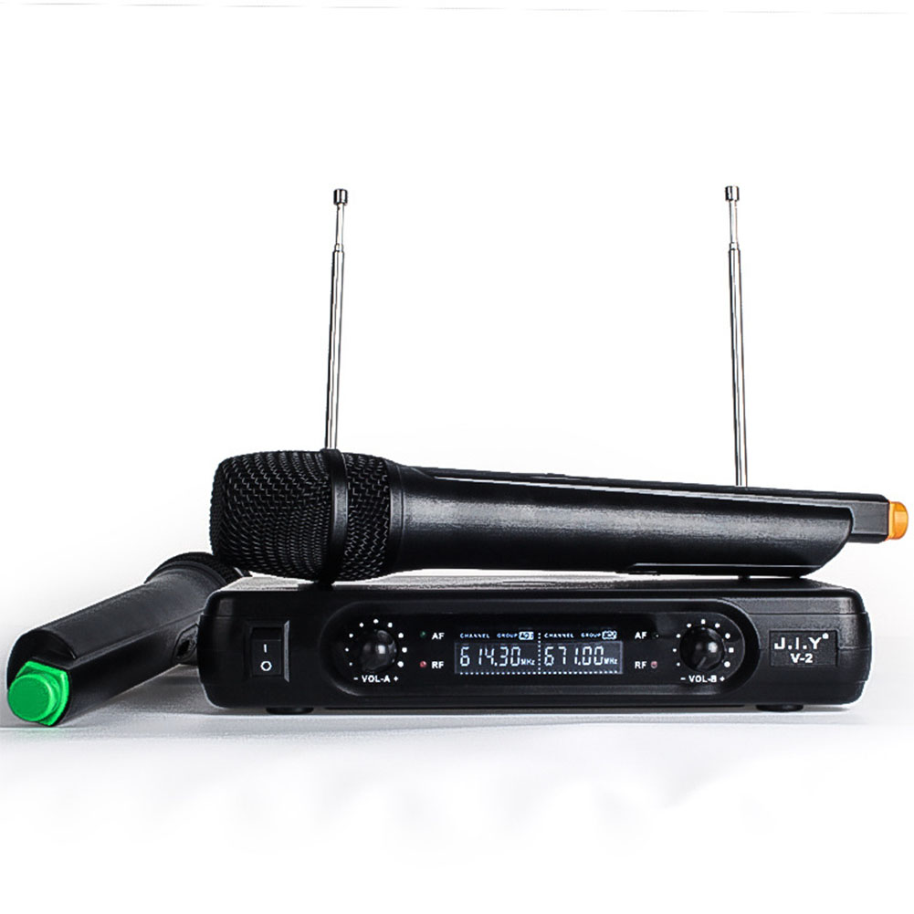 Professional Karaoke Wireless Microphone Mixer Audio Radio Kits Handheld LCD Microphone black_UK plug