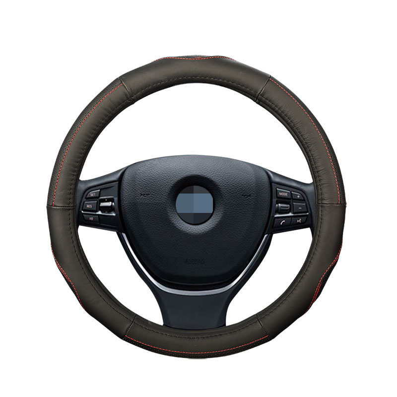 Leather Car Steering Wheel Cover No Smell Anti-slip Universal Steering Cover for Diameter 35-40CM