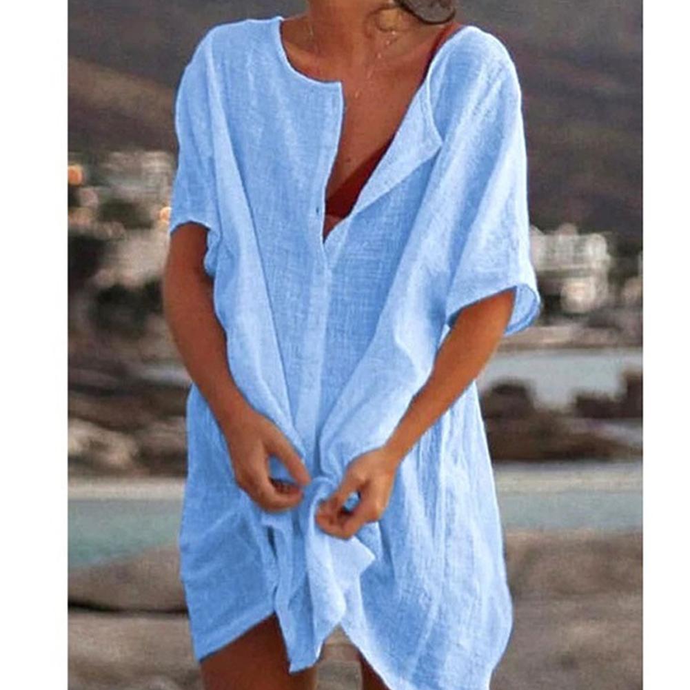 Women Summer Loose Solid Color Short-sleeved Shirt blue_S