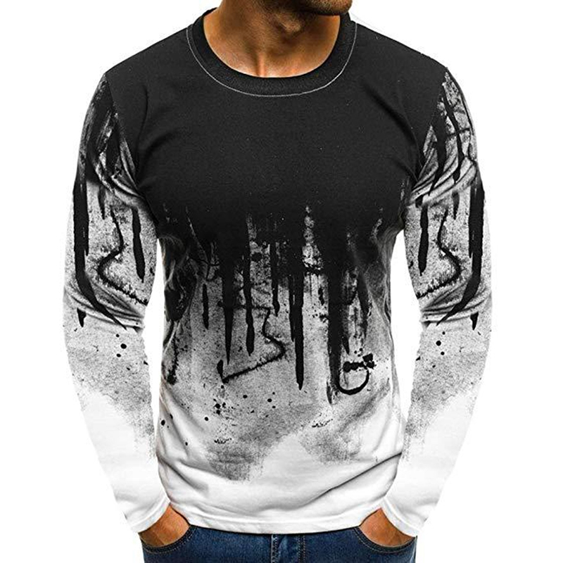 Men Simple Casual Gradient Long-Sleeve Basic T-Shirts Fitness Gym T-Shirt Tops white_XL