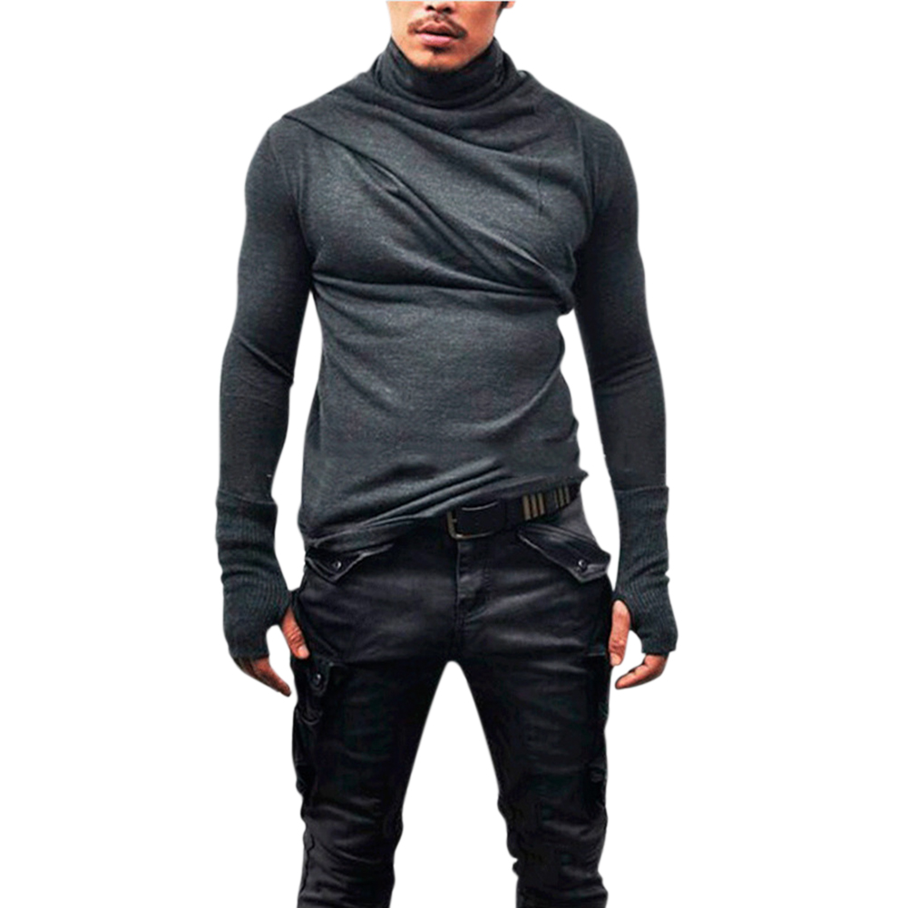 Men Fashion Heap Collar Shirt Super Long Sleeve with Gloves Casual Shirt Solid Color Tops gray_L