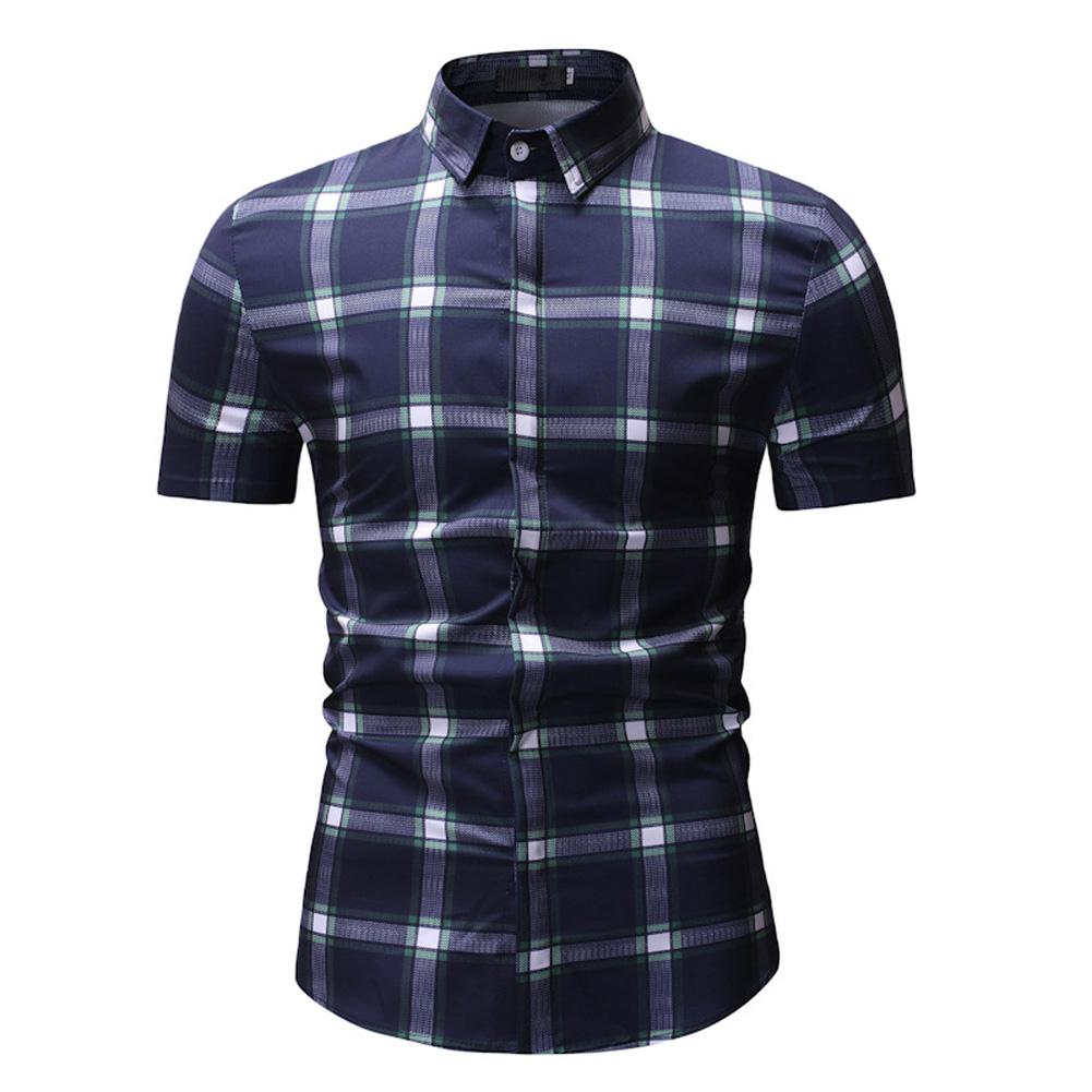Male Plaid Printed Leisure Shirt of Short Sleeves and Turn-down Top Cardigan Slim Costume Green lattice_XL