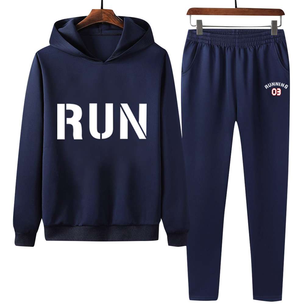 2Pcs/set Men Hoodie Sweatshirt Sports Pants Printing RUN Casual Sportswear Student Tracksuit Navy blue_XXXL