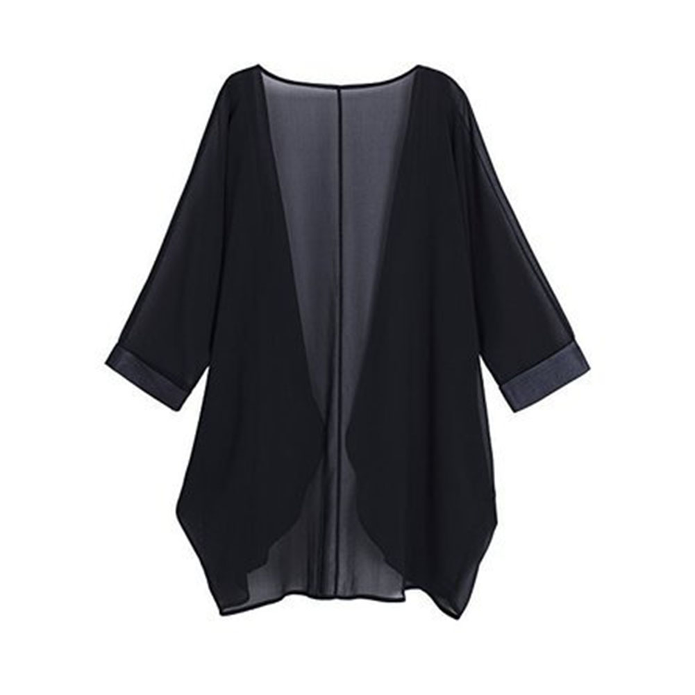 Women Chiffon Pure Color Sunshine-proof Summer Fashion Loose Tops black_L