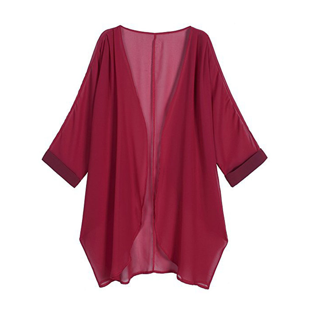 Women Chiffon Pure Color Sunshine-proof Summer Fashion Loose Tops Wine red_M