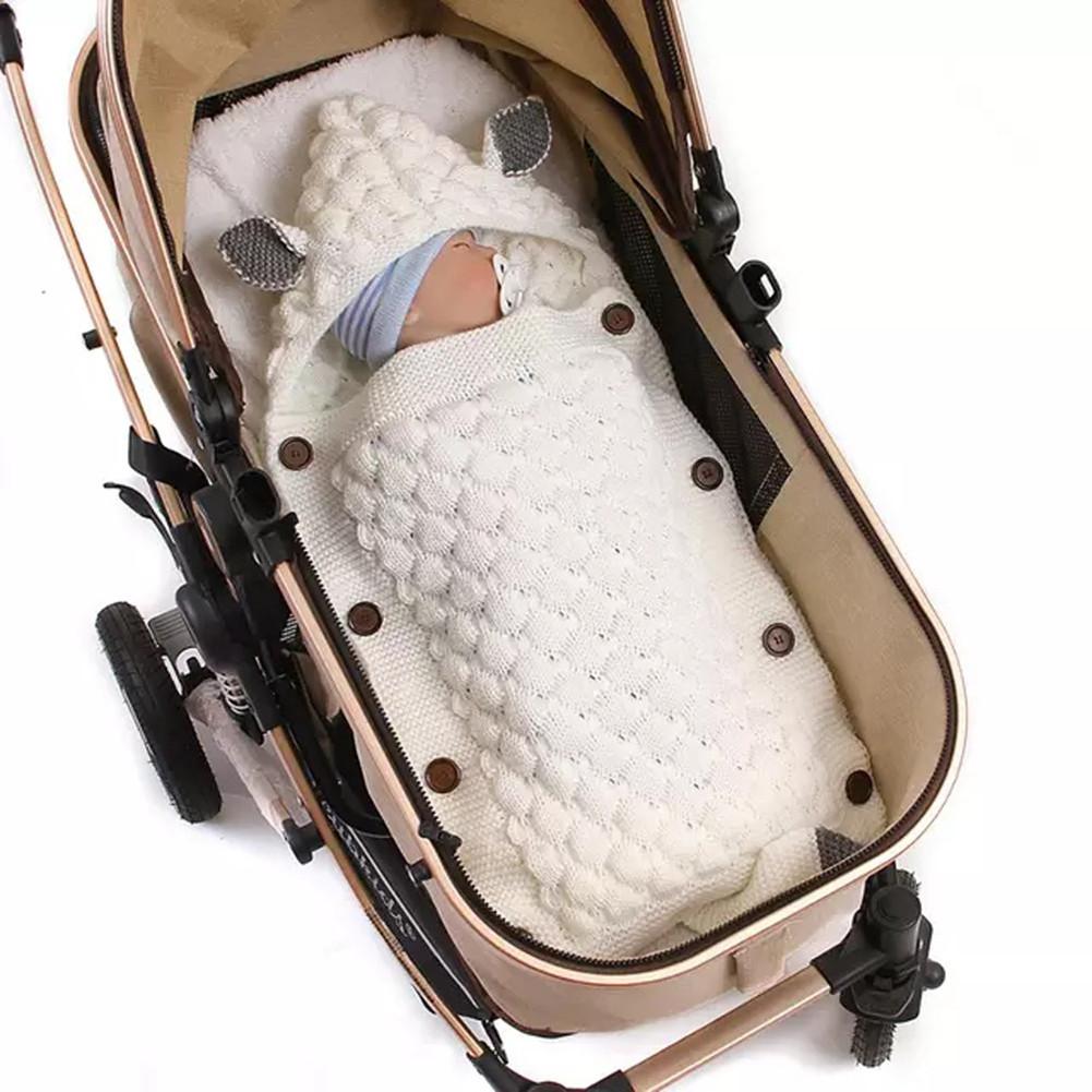 Spring Autumn Knitting Sleeping Bag Photographic Props Swaddling Blanket for Newborn creamy white