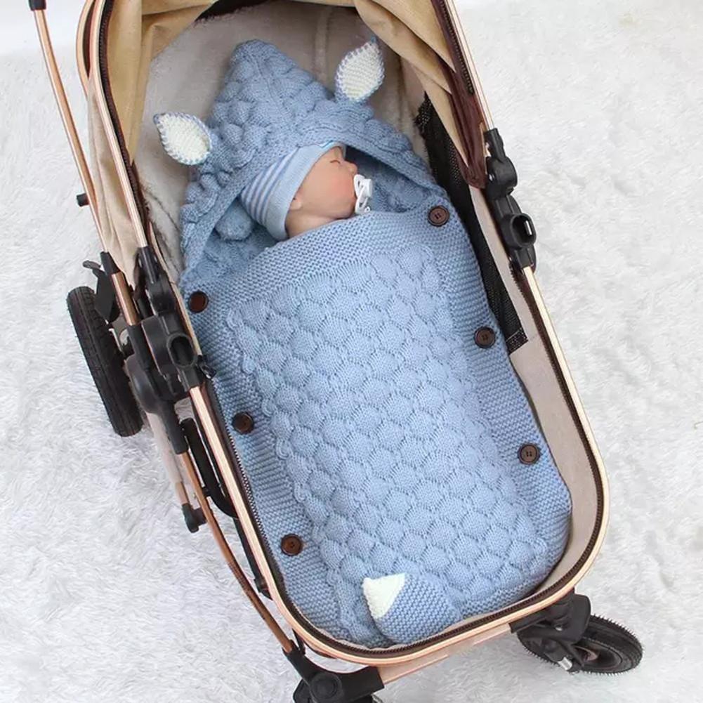 Spring Autumn Knitting Sleeping Bag Photographic Props Swaddling Blanket for Newborn Light blue