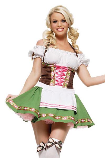Women German Oktoberfest Off Shoulder Apron Dress Halloween Party Costume green_XL
