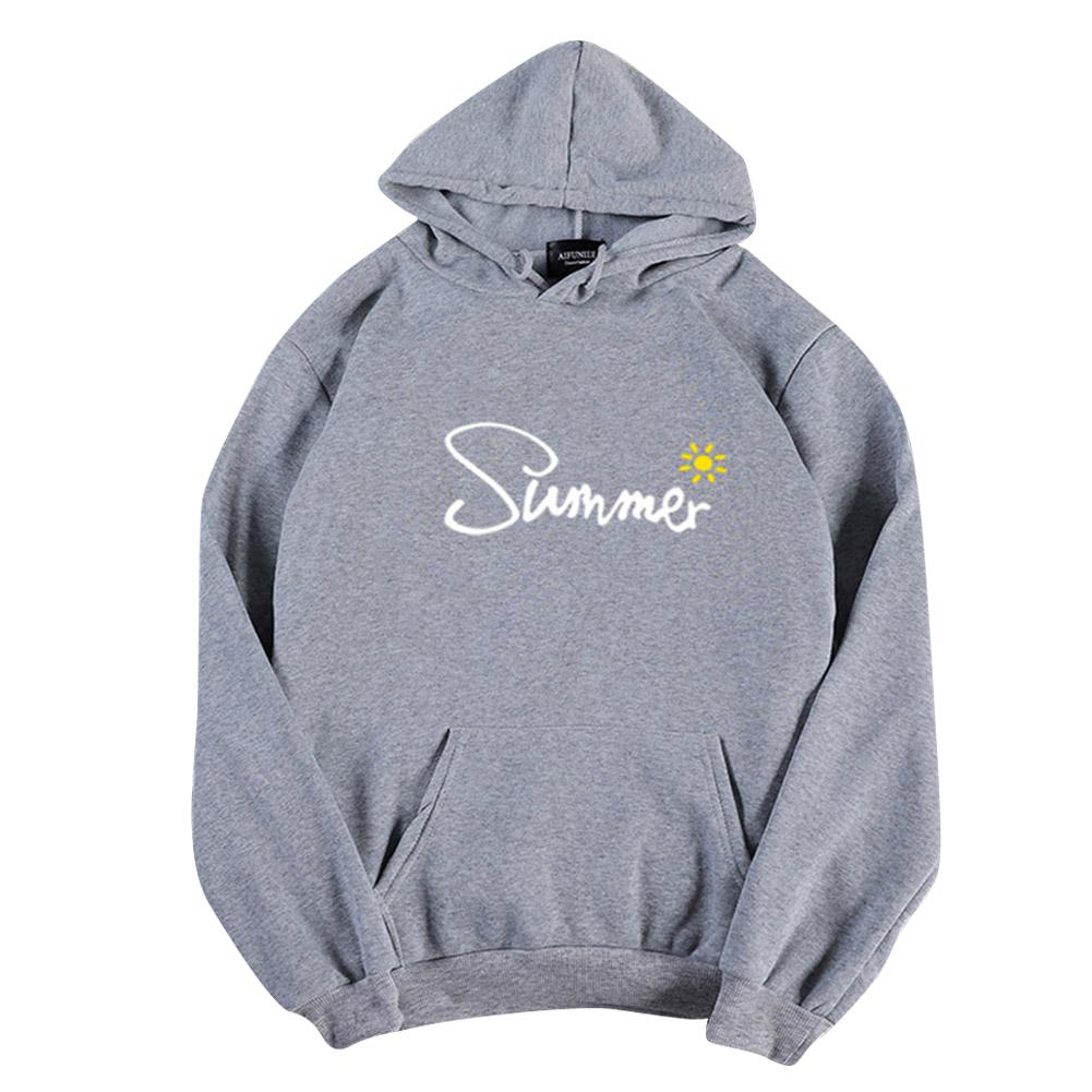 Men Women Hoodie Sweatshirt Thicken Velvet Sun Summer Loose Autumn Winter Pullover Tops Gray_XXL