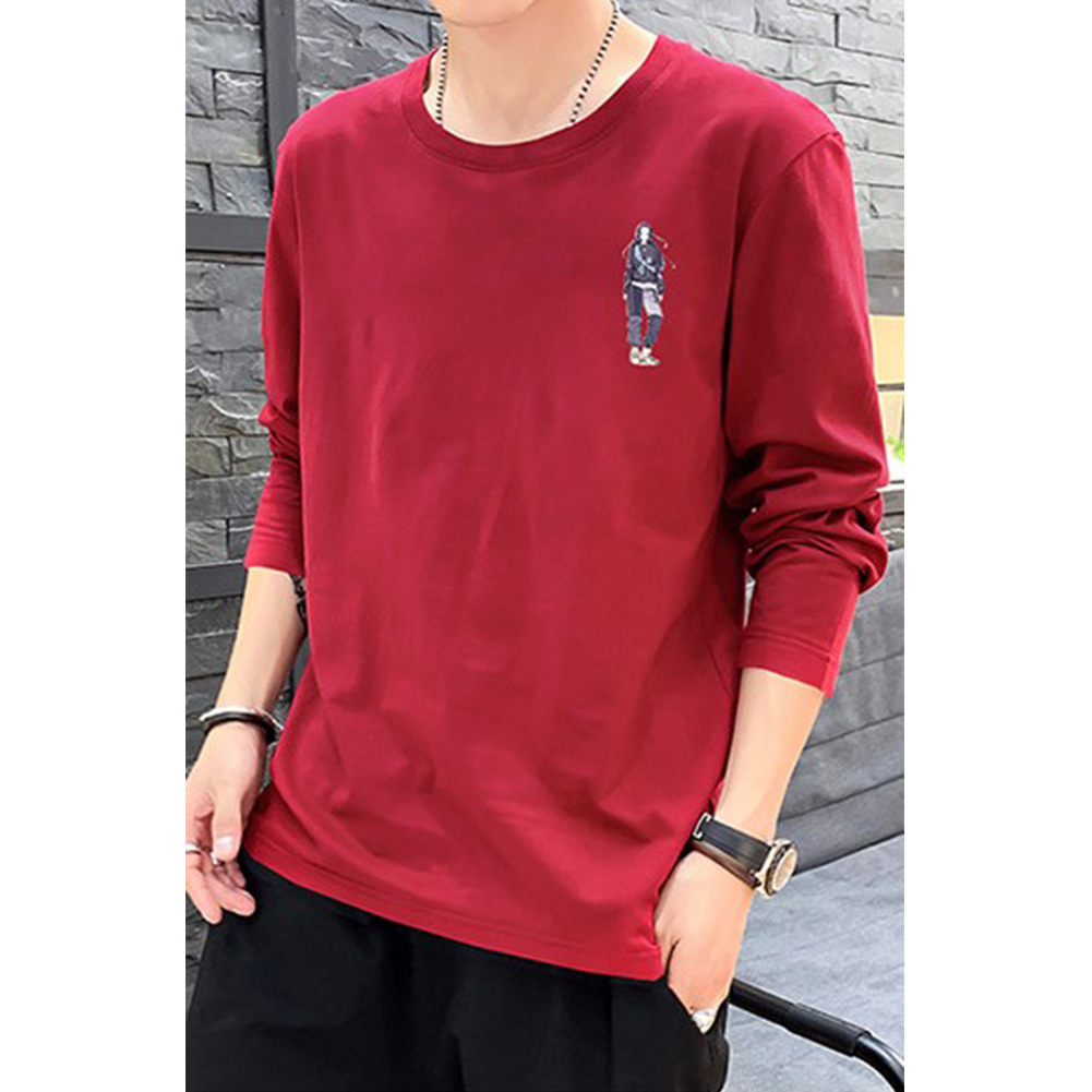 Male Casual Shirt of Long Sleeves and Round Neck Slim Top Pullover with Cartoon Pattern Decorated red_M