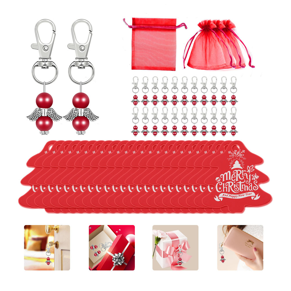 24Pcs/Set Christmas Guardian Angel Keychain + Pendant + Gauze Bag Holiday Decorations Party Gifts red