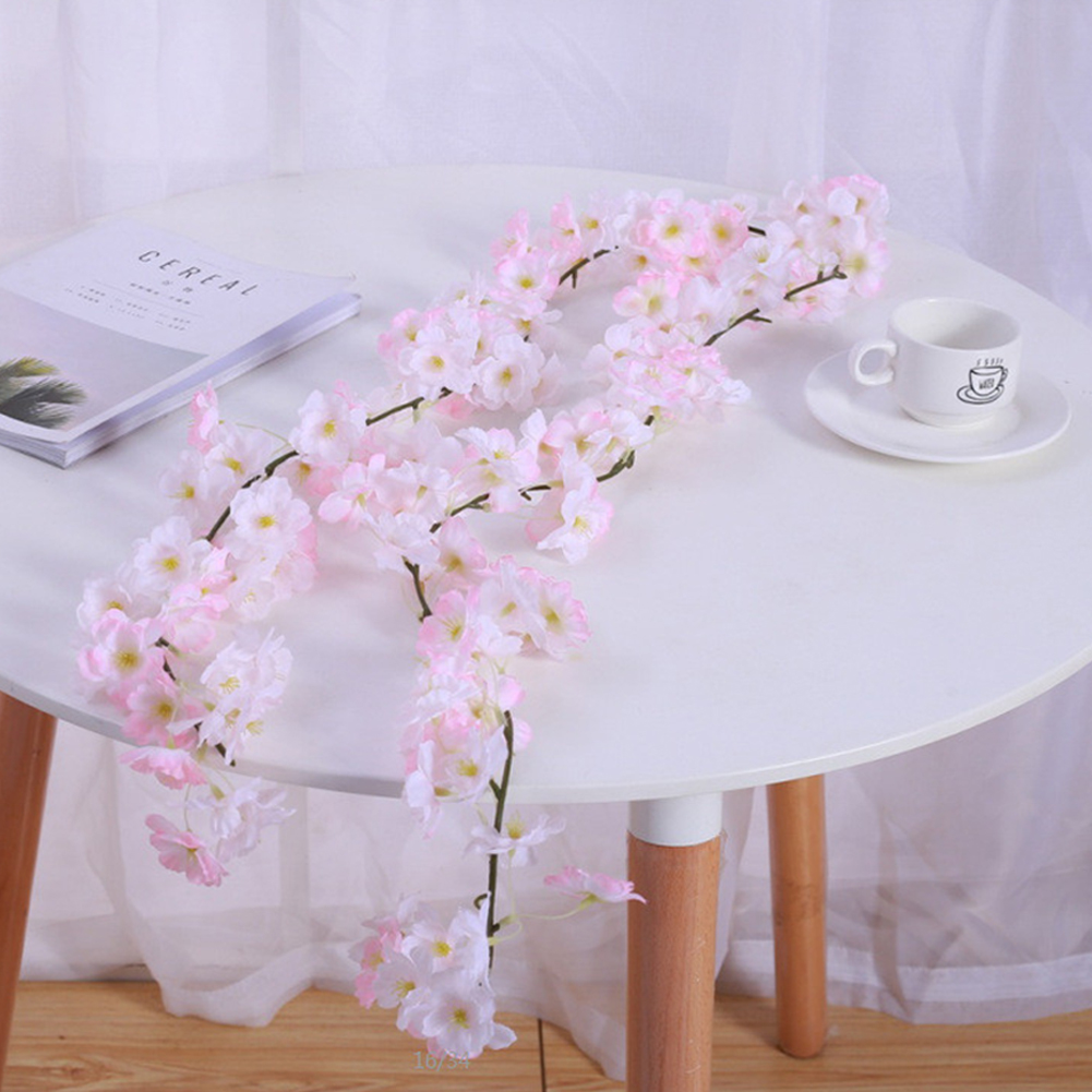 1.8M / 5.9FT Artificial Cherry Blossom Rattan Wreath Party Wedding Decor Light pink