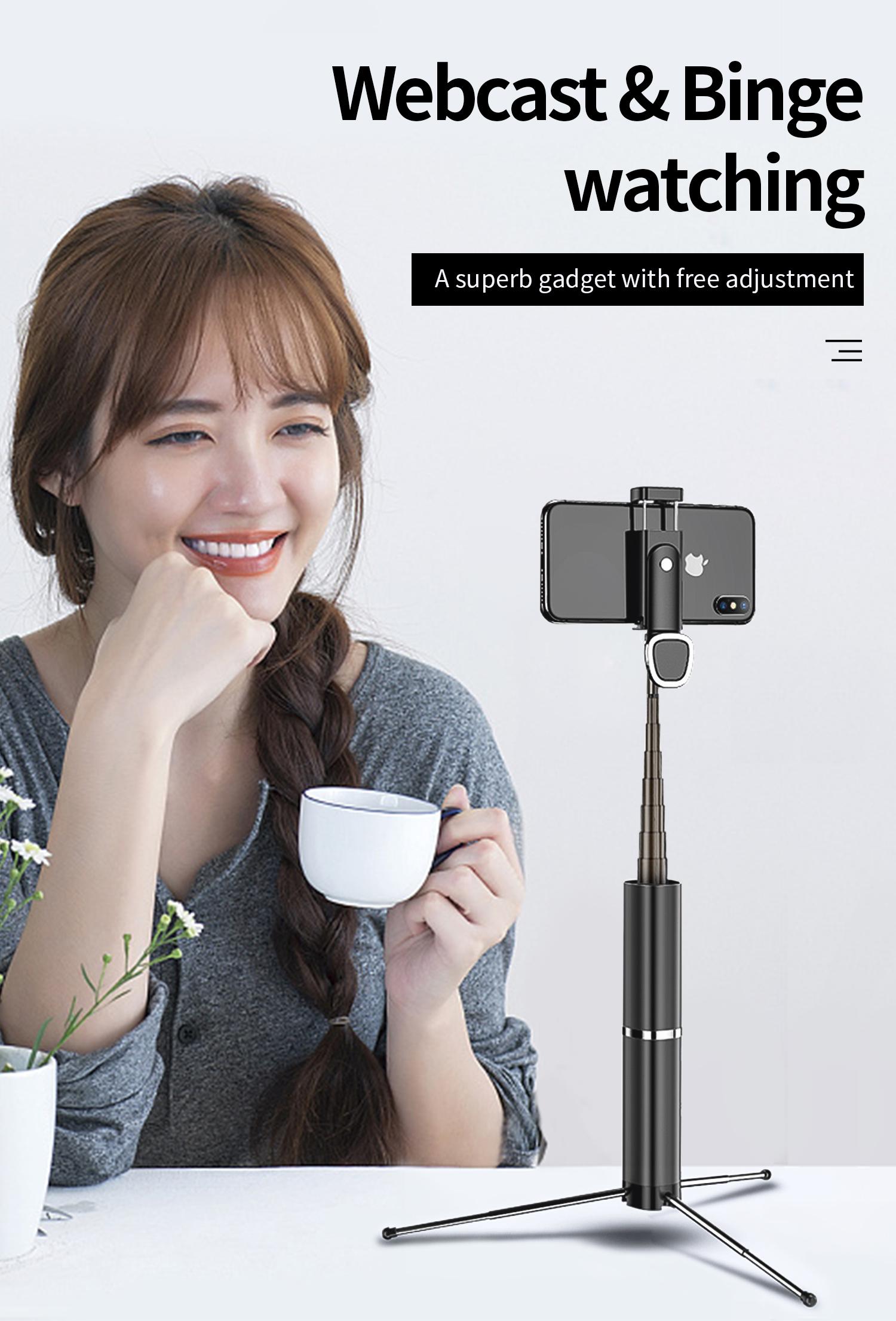 Foldable Wireless Bluetooth Selfie Stick Mini Tripod Lightweight Portable black