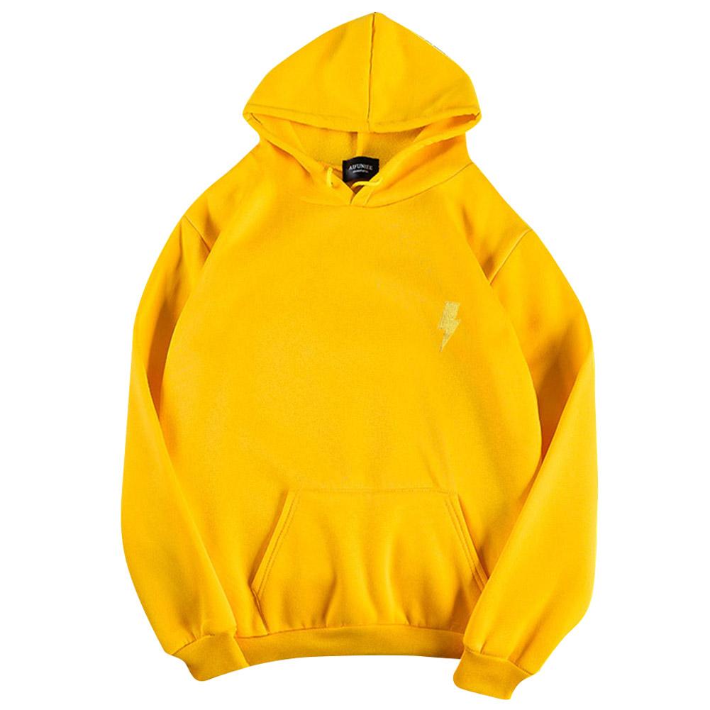 Men Women Hoodie Sweatshirt Flash Thicken Velvet Loose Autumn Winter Pullover Tops Yellow_M