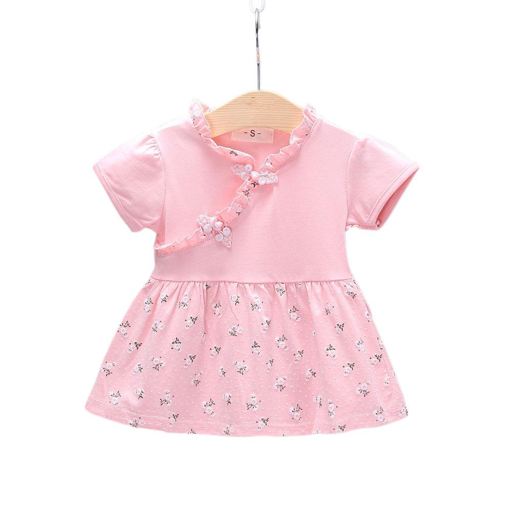 Kids Girls Dress Cotton Short Sleeve Printed Dress for Infants  Pink_S