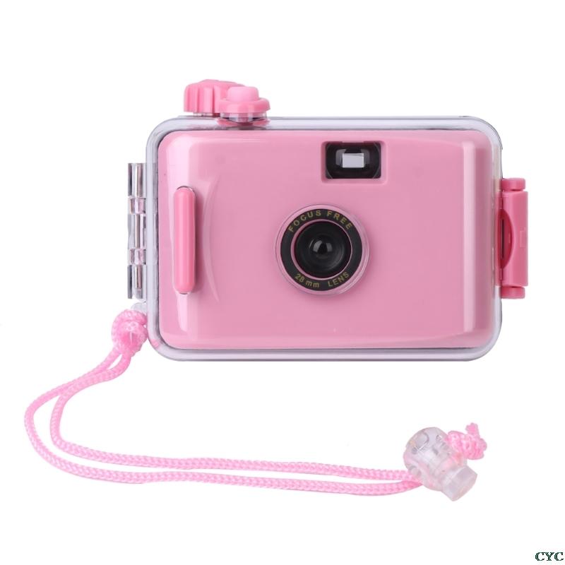 Underwater Waterproof Camera Mini Cute 35mm Film with Housing Case Pink
