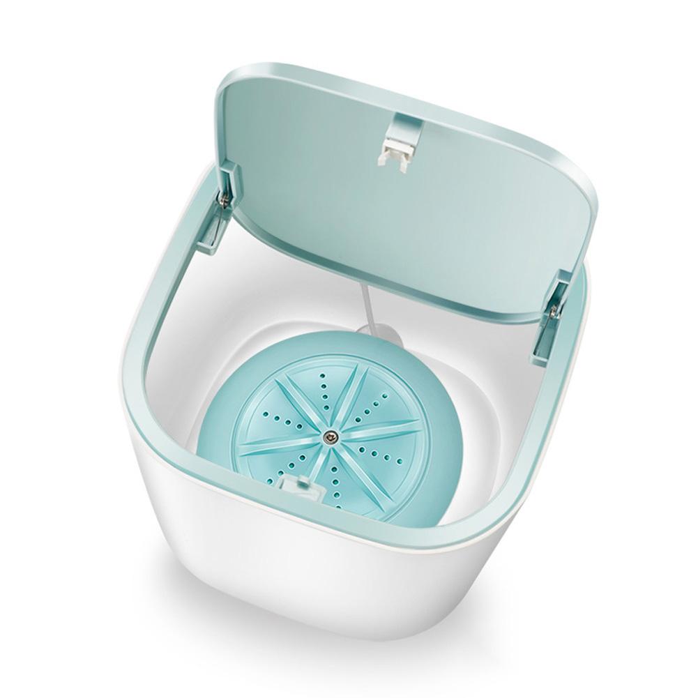 Portable Ultrasonic Electric Washing Machine USB Charging Mini Tabbletop Clothes Washing blue