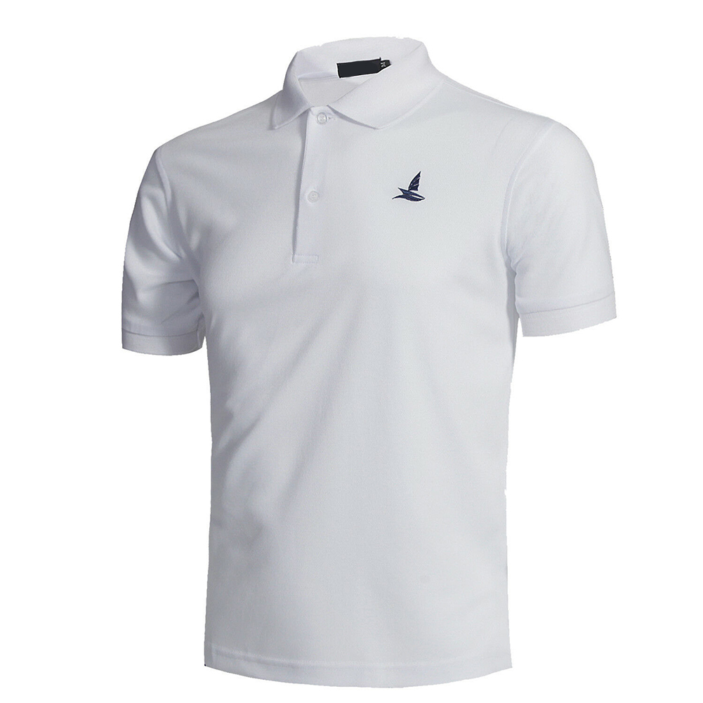 Men Short Sleeve Shirts Solid Color Lapel Collar Casual Tops for Daily Sports Wearing white_M