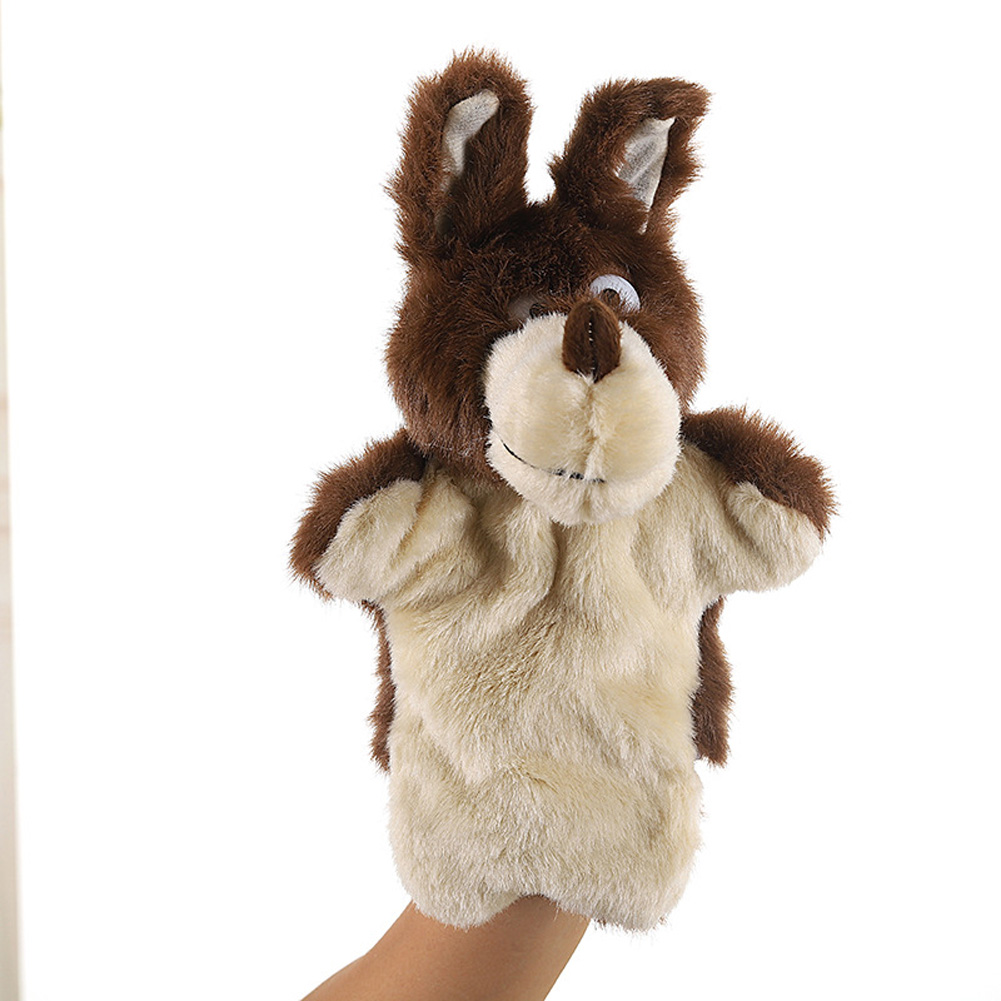 Plush Doll Interactive Animal Plush Hand Puppets for Storytelling Teaching Parent-child Brown Wolf