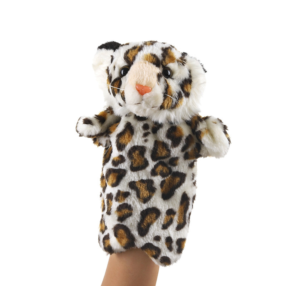 Plush Doll Interactive Animal Plush Hand Puppets for Storytelling Teaching Parent-child Brown Leopard Tiger