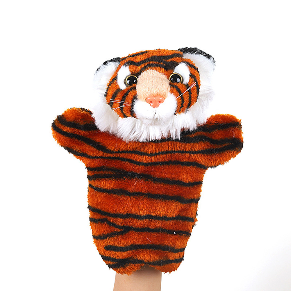 Plush Doll Interactive Animal Plush Hand Puppets for Storytelling Teaching Parent-child Siberian tiger