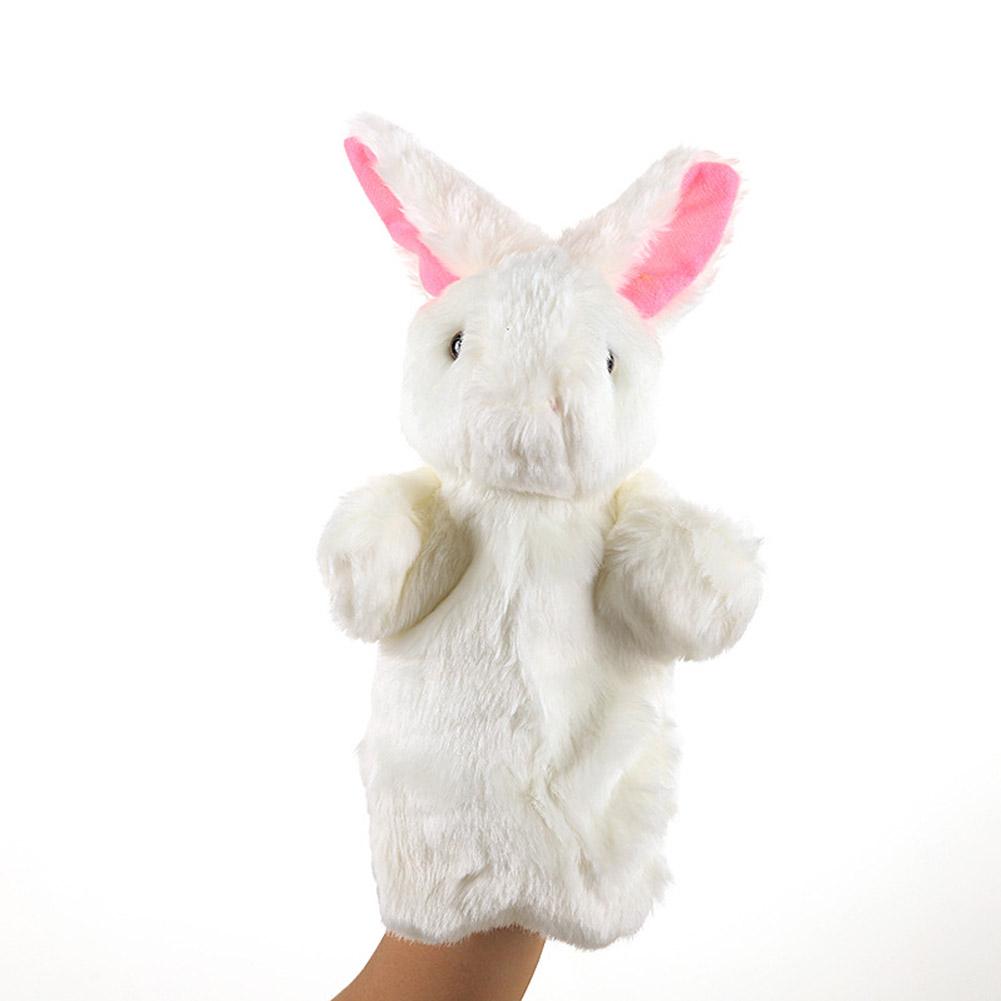 Plush Doll Interactive Animal Plush Hand Puppets for Teaching Parent-child White rabbit
