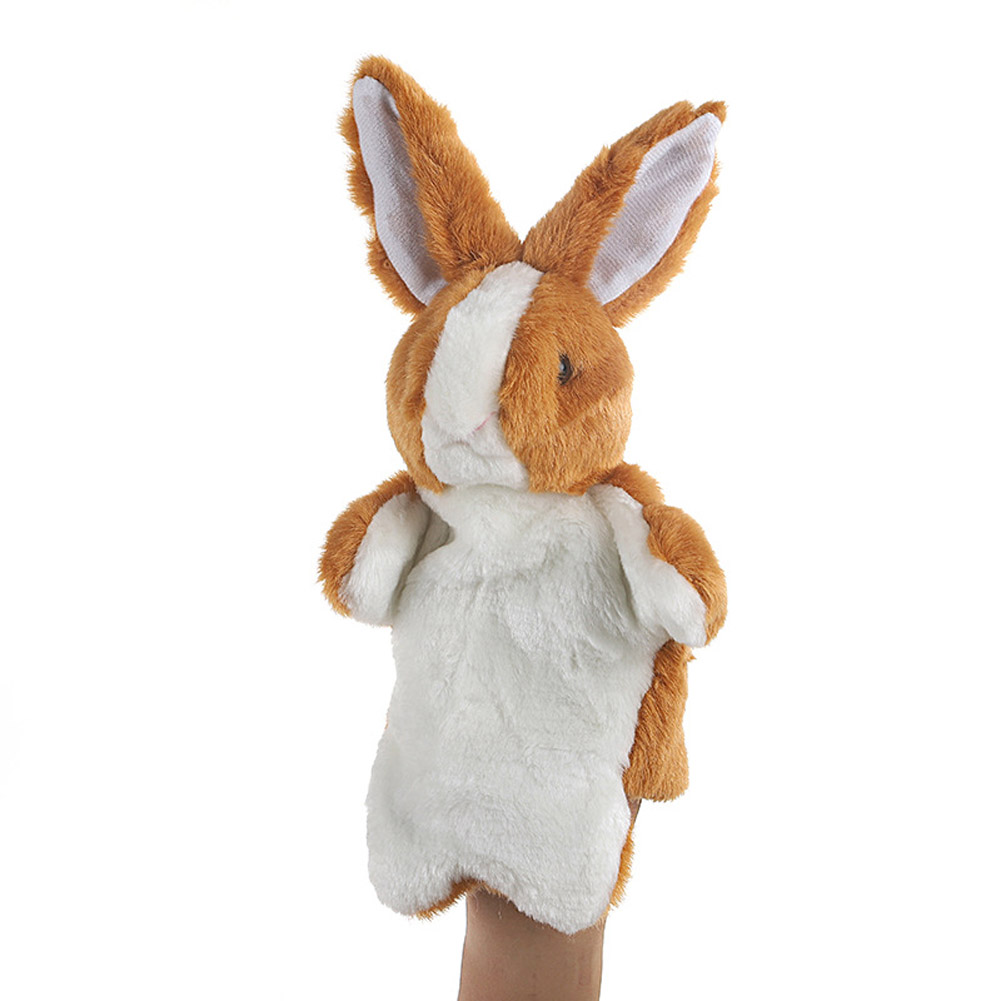 Plush Doll Interactive Animal Plush Hand Puppets for Teaching Parent-child Brown rabbit
