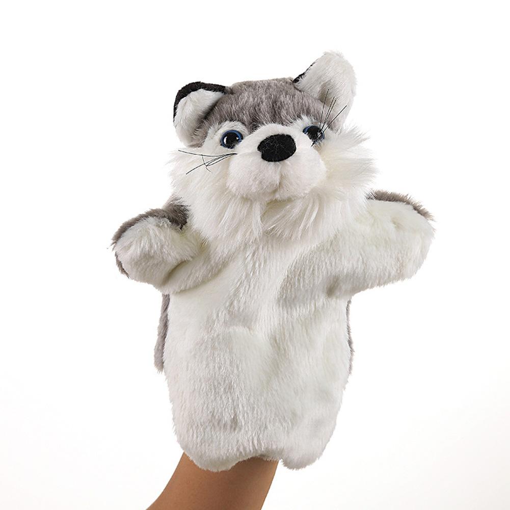 Plush Doll Interactive Animal Plush Hand Puppets for Storytelling Teaching Parent-child Grey fox