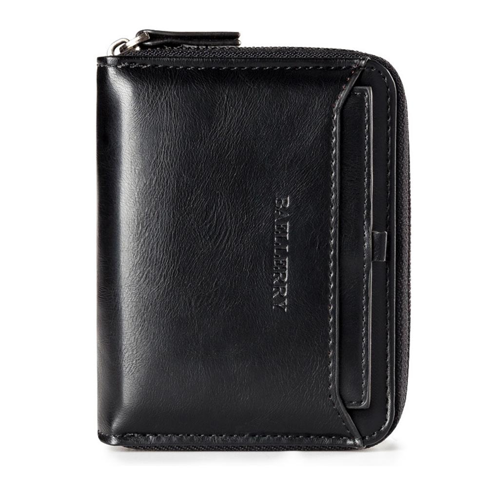 Men Retro Zipper PU Solid Color Short Purse  Black