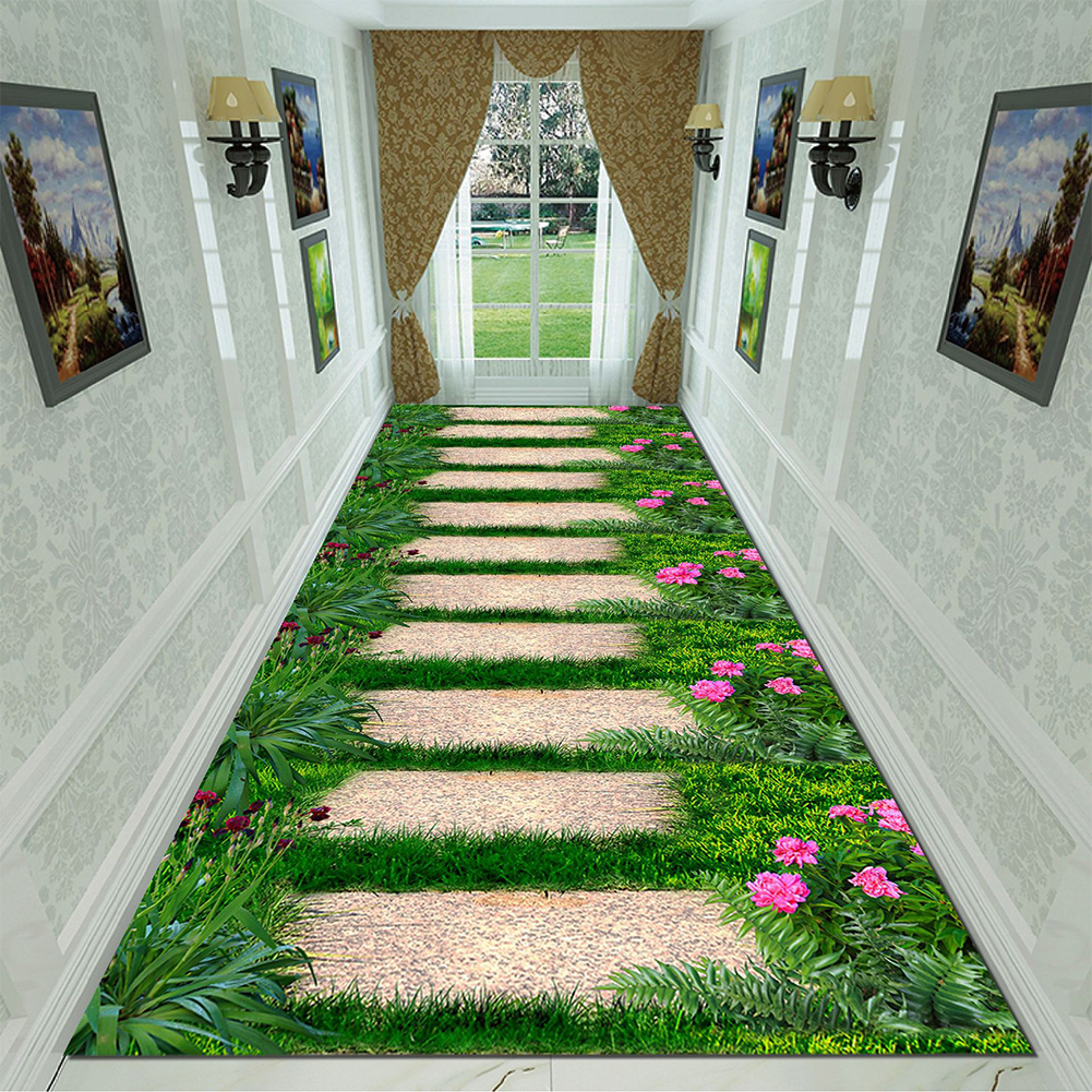 Green Rectangle Plant Printing Non Slip Mat for Bedroom Living Room Table Kitchen Corridor 1_80cm