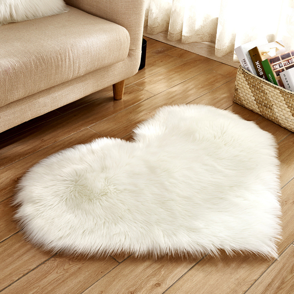 Soft Artificial Plush Rug Chair Cover Warm Hairy Carpet Seat Pad Modern Style Home Decoration  white