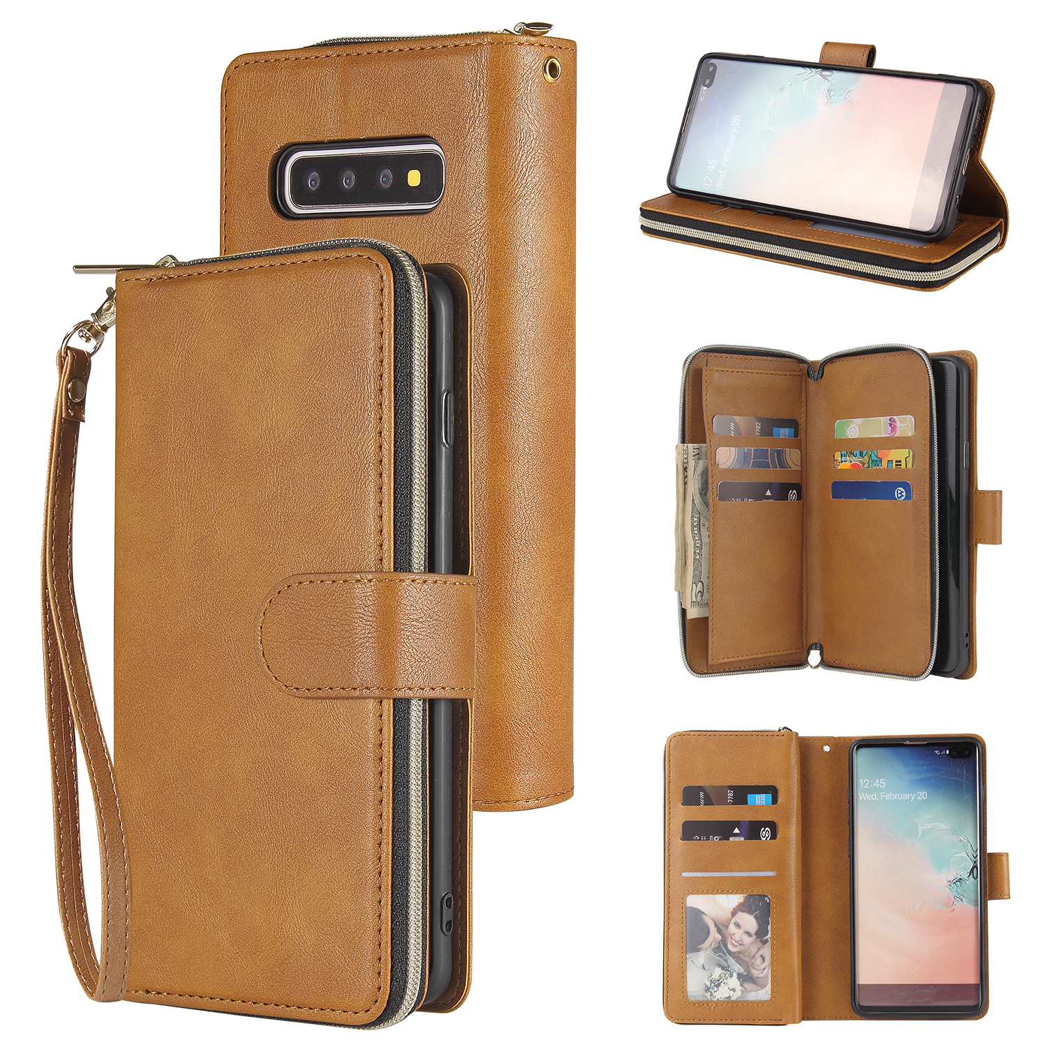 For Samsung S10/S20/S10E/ S10 Plus Pu Leather  Mobile Phone Cover Zipper Card Bag + Wrist Strap brown
