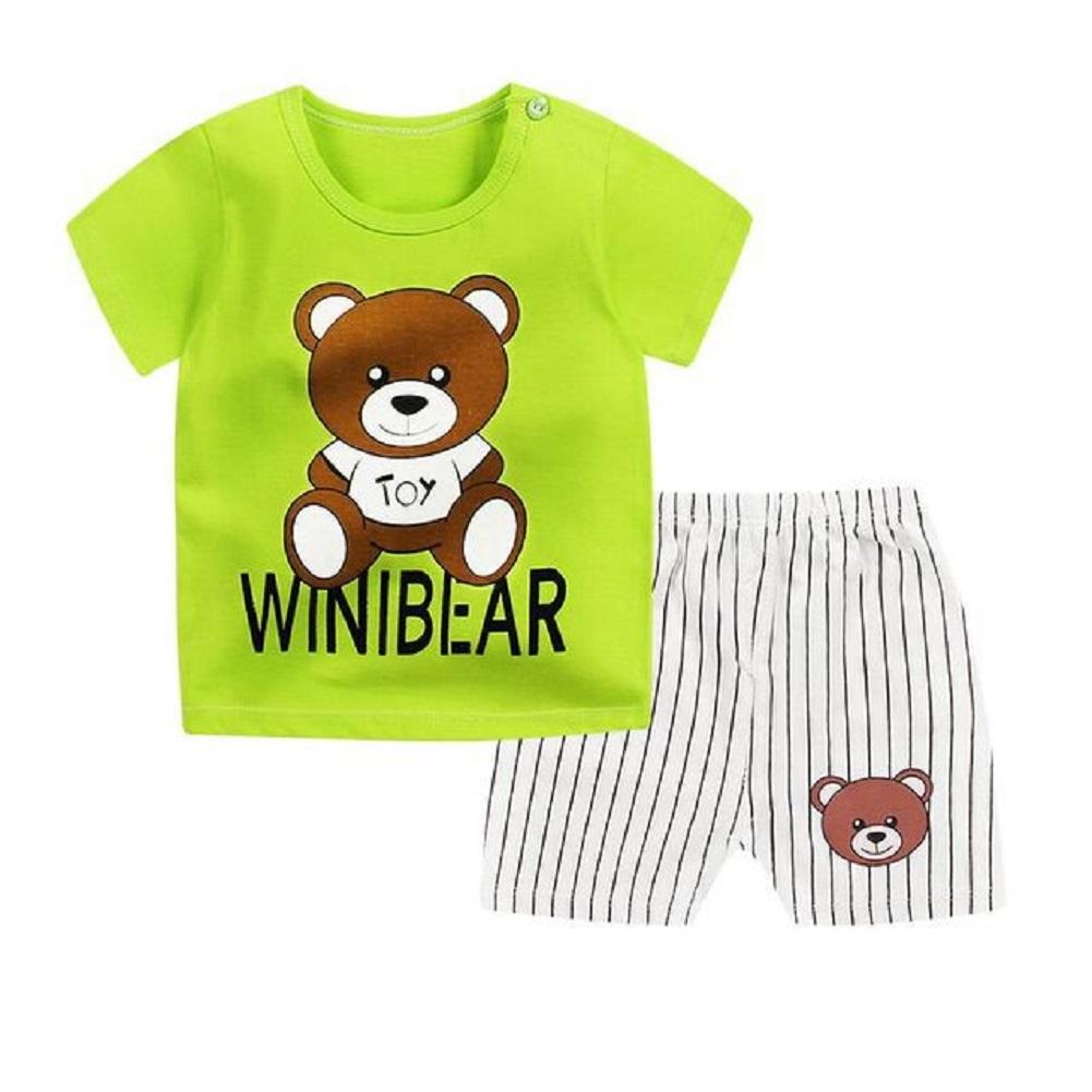 [Indonesia Direct] 2pcs/set Kids Girls Boys Summer Soft Cotton Breathable Cartoon Printing T-shirt + Shorts Suit teddy bears_73cm
