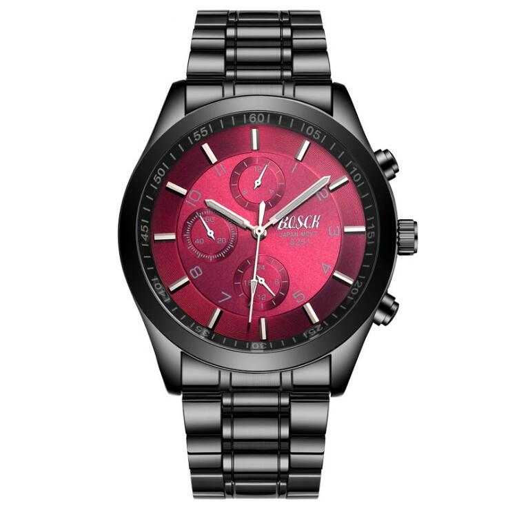 Men Luxury Wristwatch Wine Red surface 8251