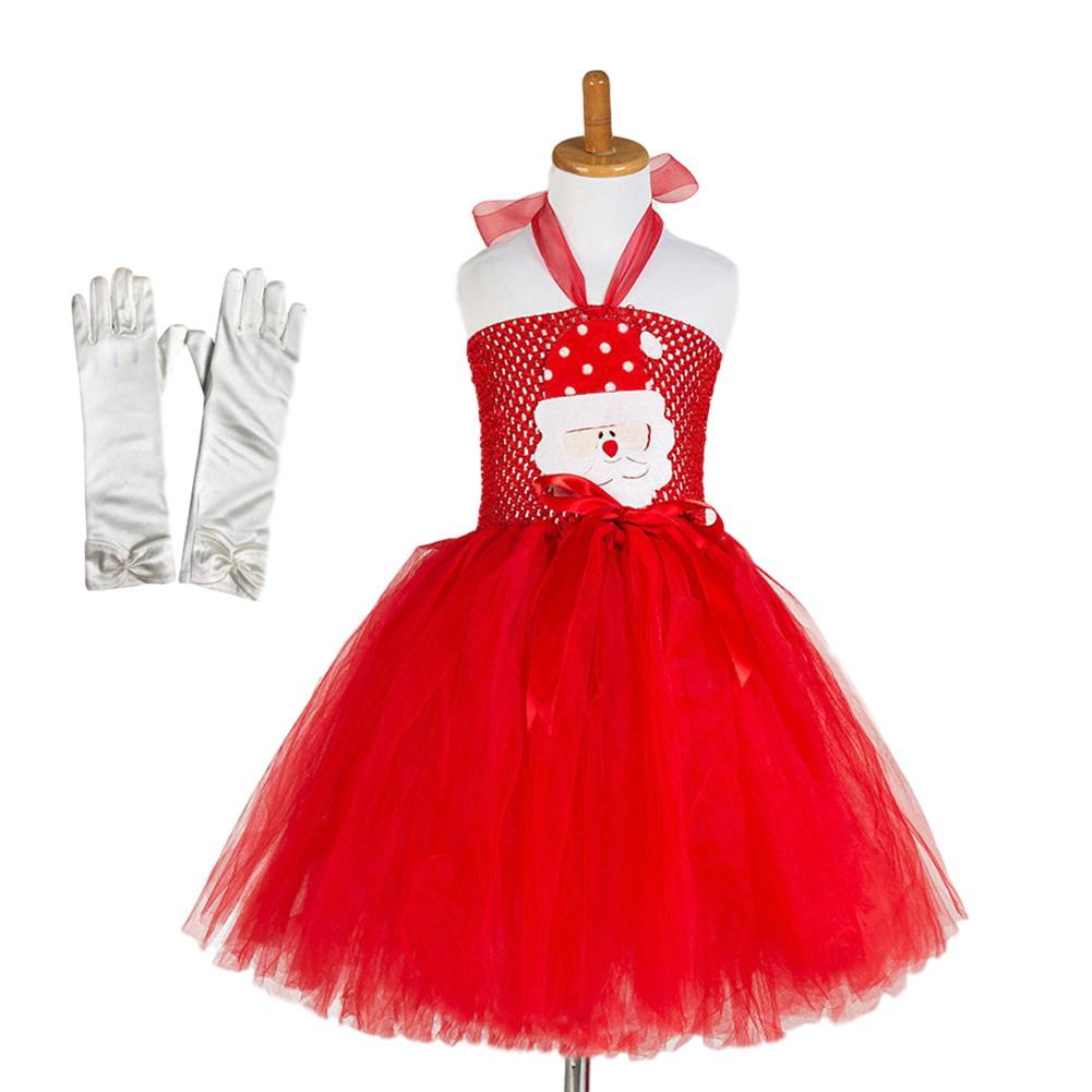 Girls Dress Christmas Cartoon Skirt + Gloves for 4-9 Years Old Kids 92902