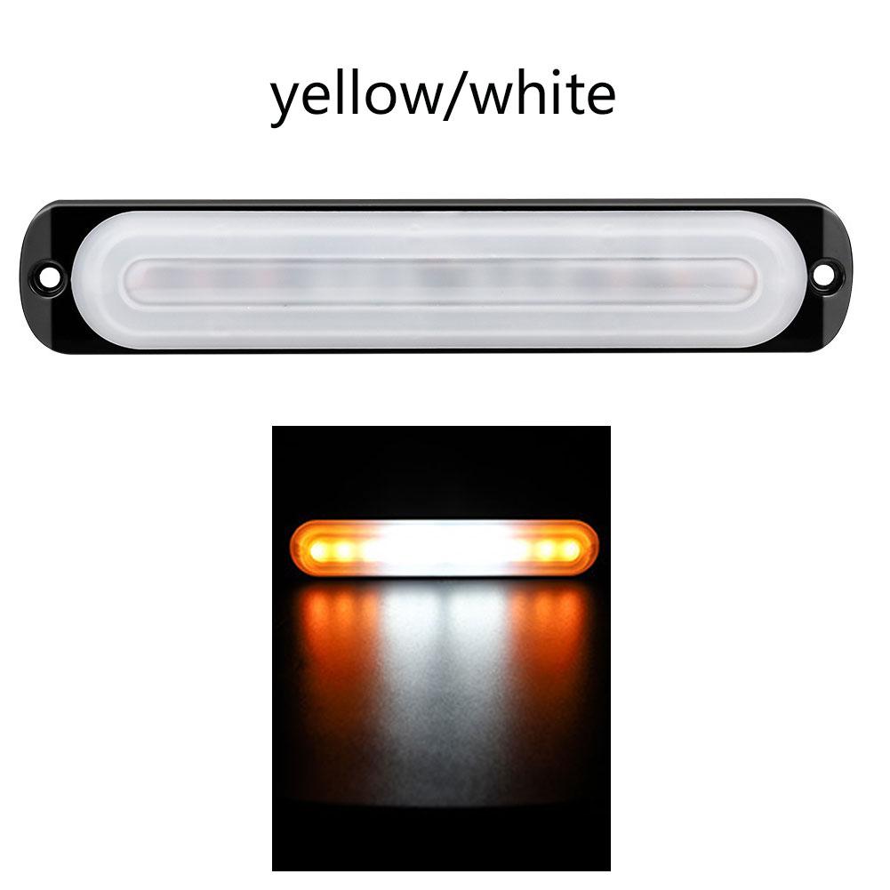 12-24V 12 LED Ultra-thin Strobe Car Light Assembly Truck Caravan Warning Flashing Lights Truck Side Signs Trailer Lights Yellow white yellow