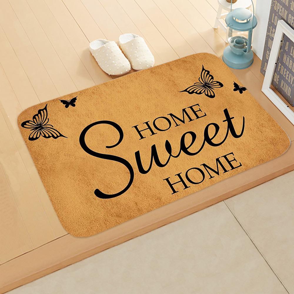Vintage Door Mat Letter Words Pattern Non-slip Water Absorption Rugs for Outdoor Bathroom Kitchen Carpets 40*60cm