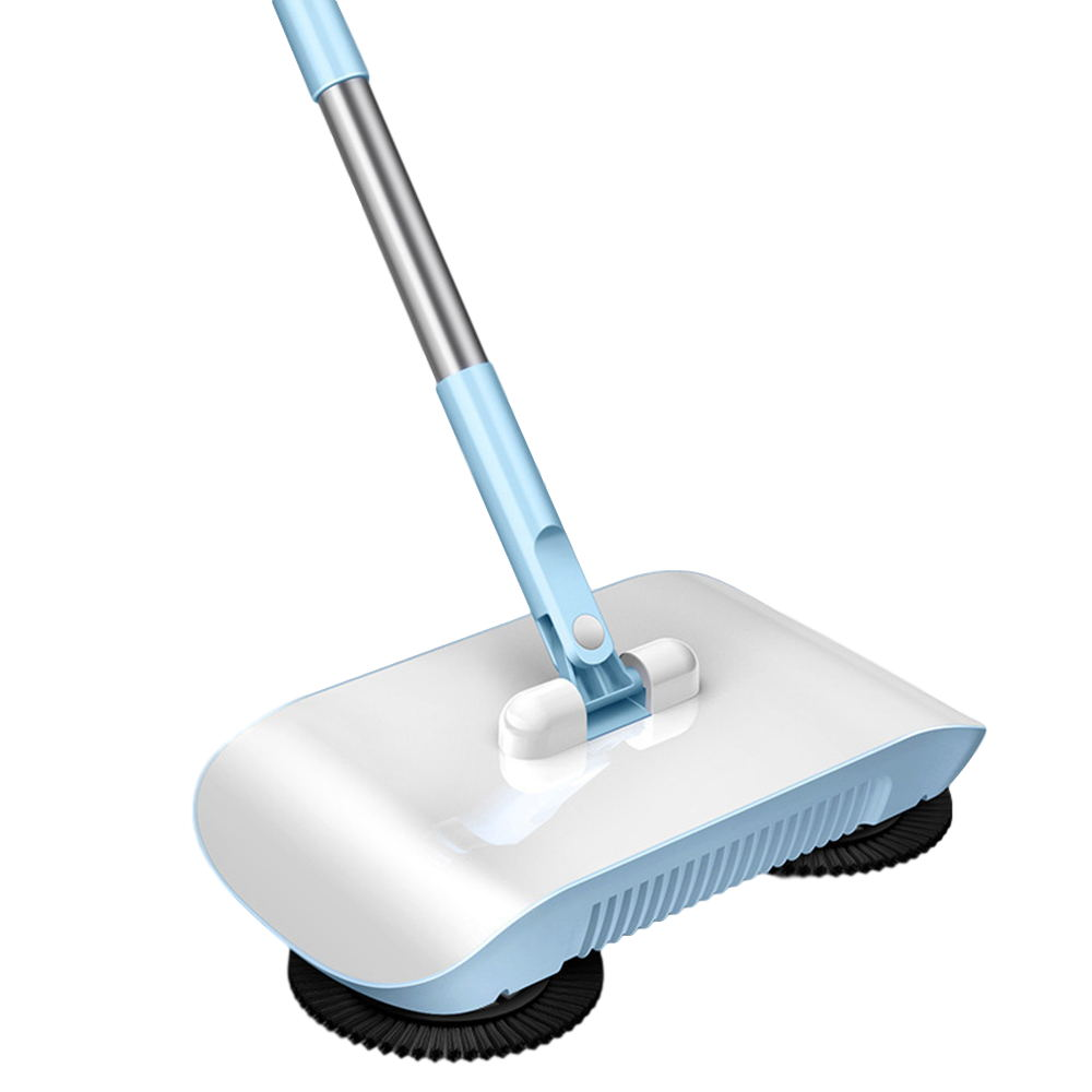 Stainless Steel Sweeping Machine Hand Push Magic Broom 180° Rotating Dustpan Automatic Sweeper Household Mop Pink