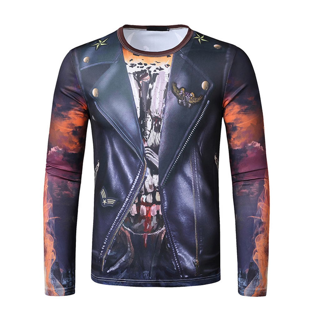 Men Long-sleeved Shirt 3D Digital Printing Halloween Series Horror Theme Long Sleeved Round Neck Shirt Black_2XL