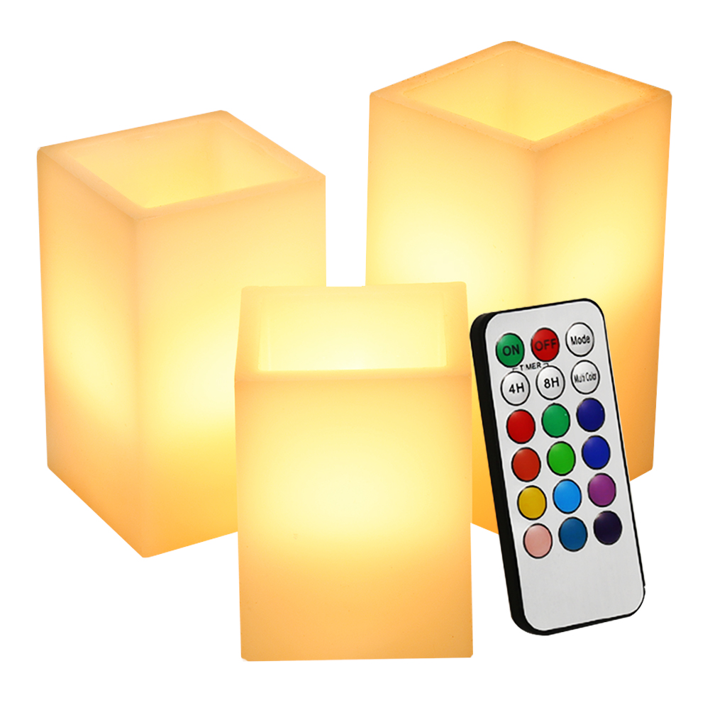 [EU Direct] 3 Packed LED Flameless Pillar Candle Light with Paraffin Body Real Wax Candle Lamp 12 Colors with 18 Keys Remote Control and 4 Hrs or 8Hrs Timer Function, Approx 5inch Tall