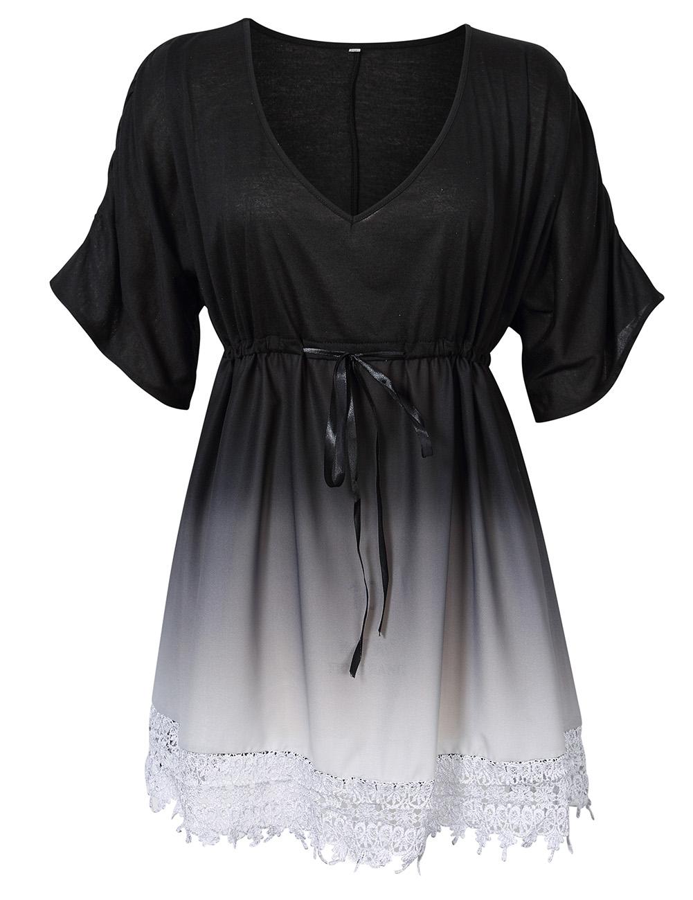 [EU Direct] AMZ PLUS Women Plus Size Casual V-neck Contrast Lace Trim Summer Dress