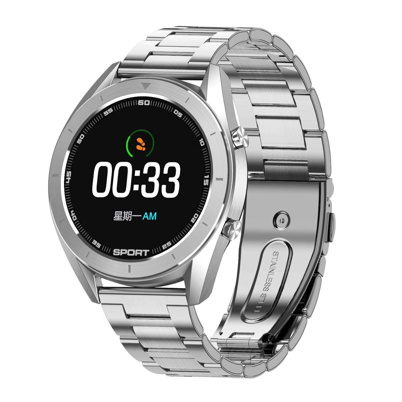 DT99 Smart Watch Men IP68 Waterproof 1.2inch Round Built-in 165mAh Battery Fitness Tracker Silver