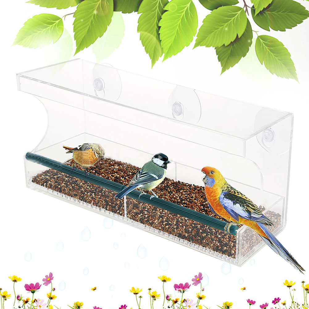 Transparent Acrylic Hanging Feed Box Cage for Small Birds Parrot Transparent_30x10x14cm