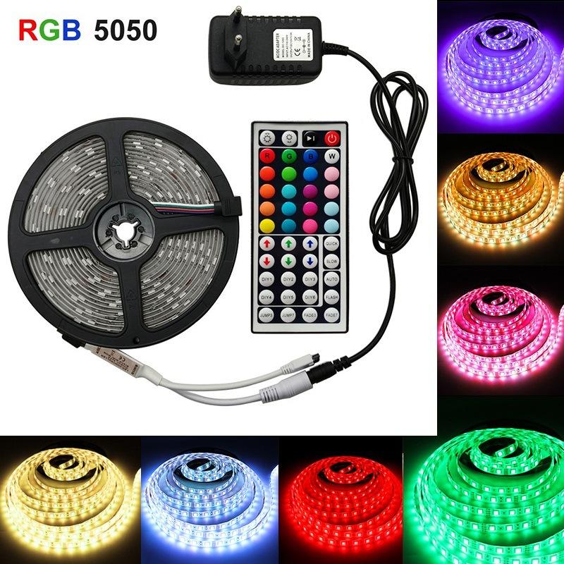 LED 5050 RGB Colorful Soft Strip Lights with 44-key Remote Control Set 12V High Bright Low Voltage Light U.S. regulations