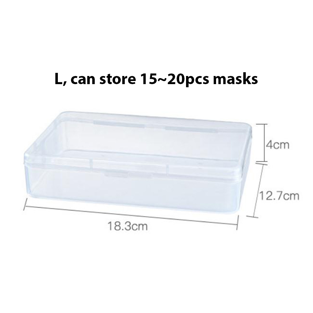 Plastic Portable Transparent Anti-dust Mask Storage Box Dustproof Pollution-Free Face Masks Container Disposable Mask Case 18.3 * 12.7 * 4