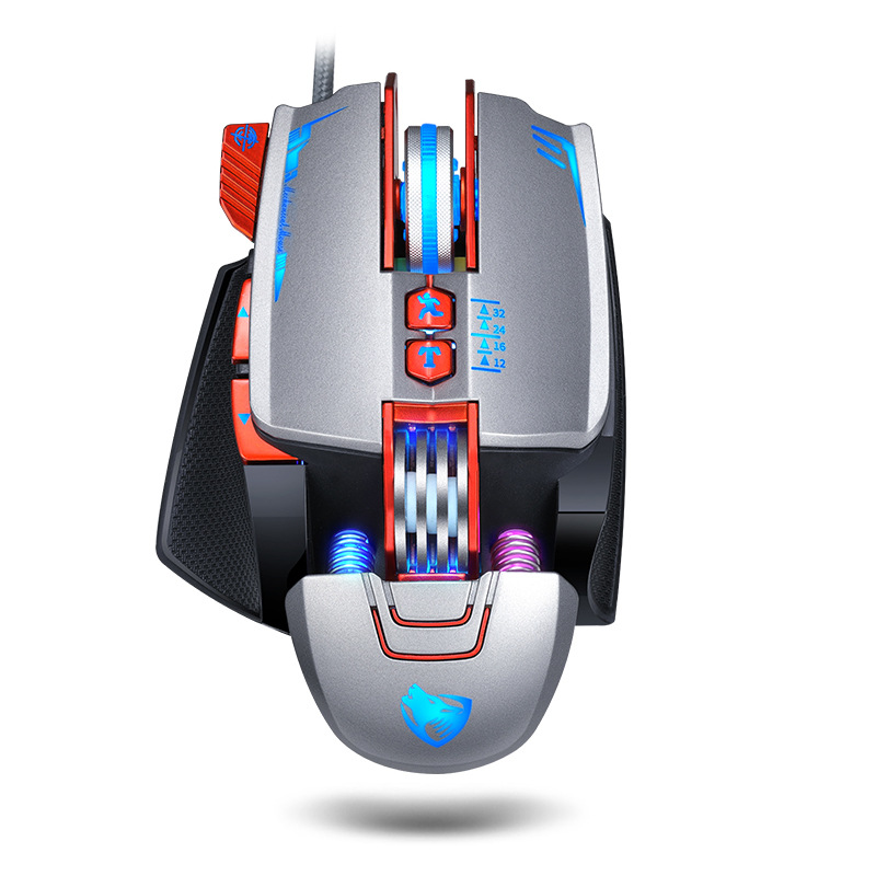 Computer Mouse English Edition V9 Mechanical Game Wired Mouse USB Mouse Silver gray