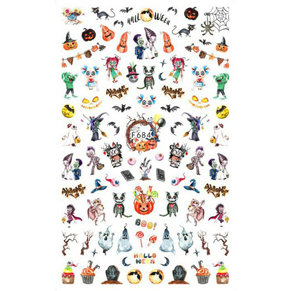 Christmas Halloween Adhesive 3d Nail Sticker Foil For Nails Art Decoration Cartoon Designs Nail Decals F684