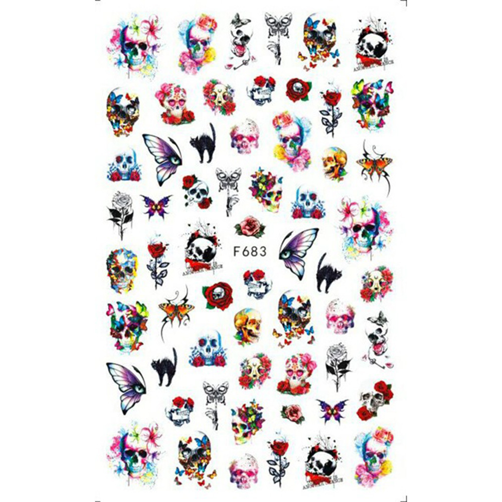 Christmas Halloween Adhesive 3d Nail Sticker Foil For Nails Art Decoration Cartoon Designs Nail Decals F683