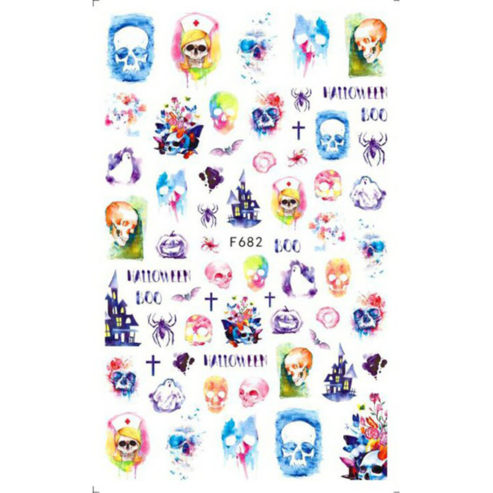 Christmas Halloween Adhesive 3d Nail Sticker Foil For Nails Art Decoration Cartoon Designs Nail Decals F682